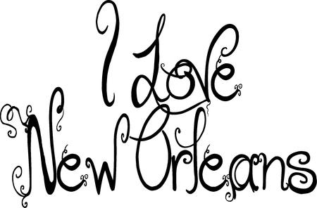 I Love New Orleans text illustration on white background