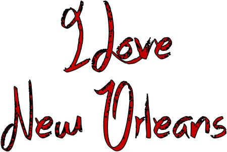 I Love New Orleans text illustration on white illustration. Stock Vector - 91600272