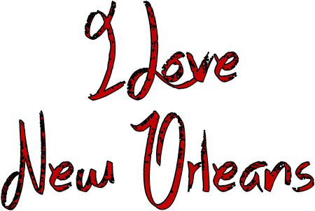 I Love New Orleans text illustration on white illustration. Illustration