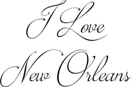 I Love New Orleans text illustration on white illustration. Illustration