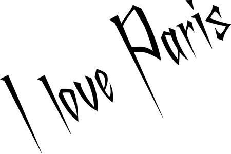 I love paris text sign illustration on white background Illustration