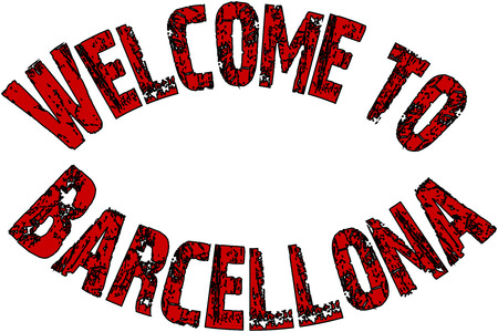 Welcome to Barcellona text sign illustration on White Background