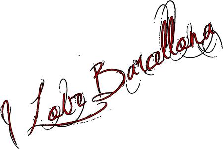 I Love Barcellona text sign illustration on White Background