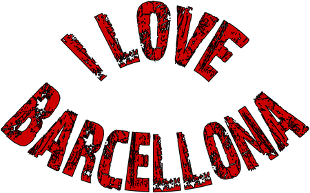 I Love Barcellona text sign illustration on White Background