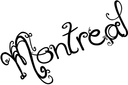 Montreal text sign illustration on white background.
