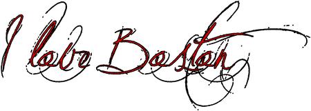 I love Boston text sign illustration on white Background