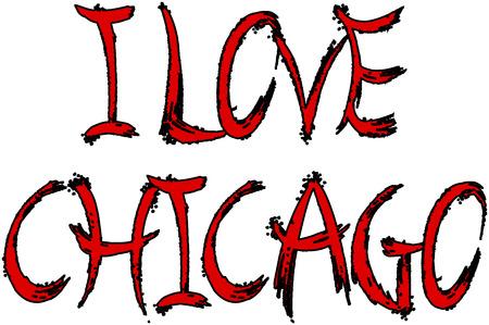 I Love Chicago text sign illustration on white background
