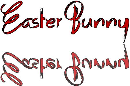 Easter Bunny text sign illustration on white background Illustration