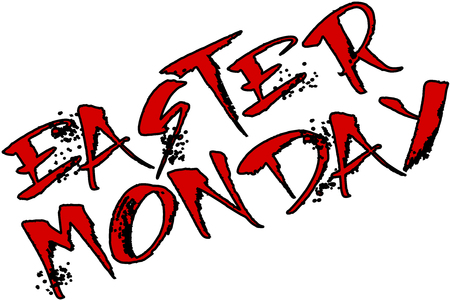 Easter Monday text sign illustration on white Background