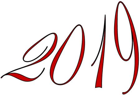 Happy 2019 text sign illustration