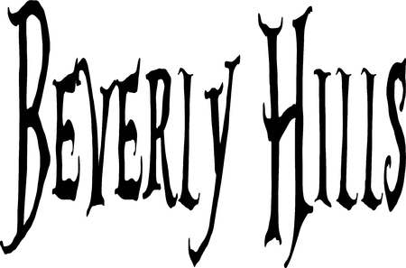 Baverly Hills. California text sign illustration on white backgraound