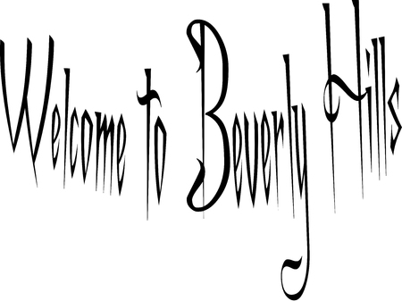 Welcome to Beverly Hills, California text sogm illustration on white b