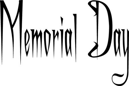 memorial day text sign illustration on white background Illustration