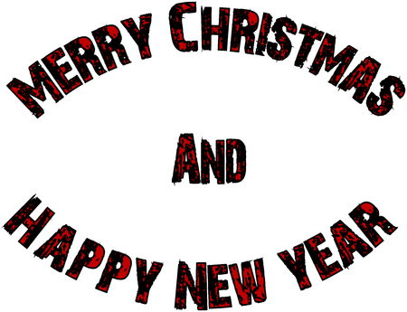 Merry Christmas and Happy new year text sign illustration on a white background Çizim