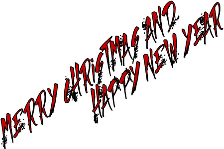 Merry Christmas and Happy new year text sign illustration on a white background Illustration