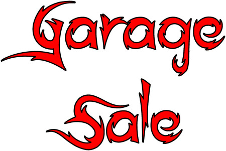 Garage sale text sign illustration on whiite background