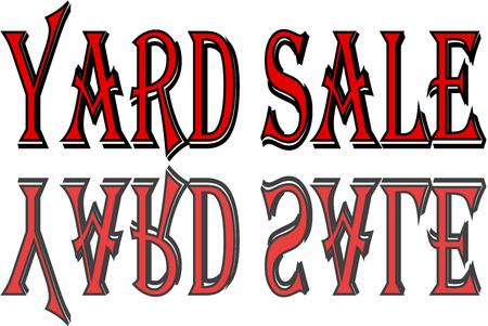 Werf verkoop tekst teken illustratie op witte achtergrond