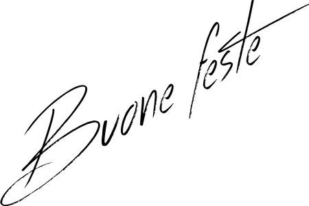 Happy Holiday season writen in Italian on white background