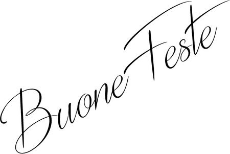 Happy Holiday season writen in Italian on white background Stok Fotoğraf - 113567404
