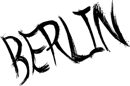 Berlin text sign illustration on white background Çizim