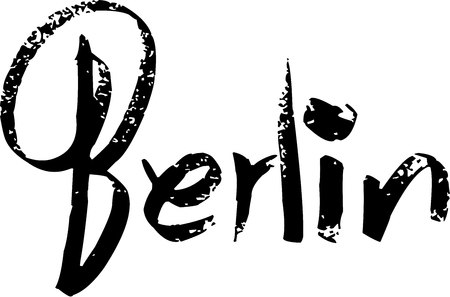 Berlin text sign illustration on white background Stok Fotoğraf - 117016806