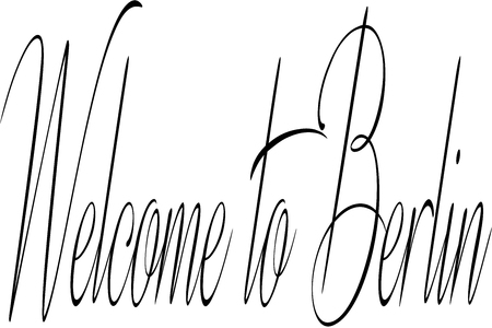 Welcome to Berlin text sign illustration on white Background Stok Fotoğraf - 117016810