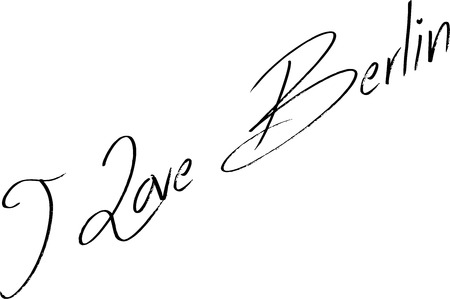 I Love Berlin text sign illustration on white background Çizim