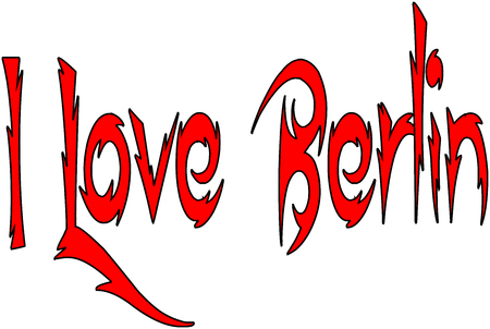 I Love Berlin text sign illustration on white background Иллюстрация
