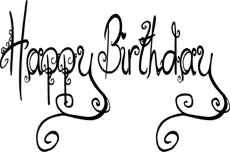 Illustration of text Happy Birthday hand written in script with  curves and flourishes on white background.