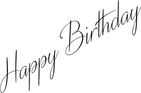 Illustration of text Happy Birthday written in script with curves and flourishes on white background.