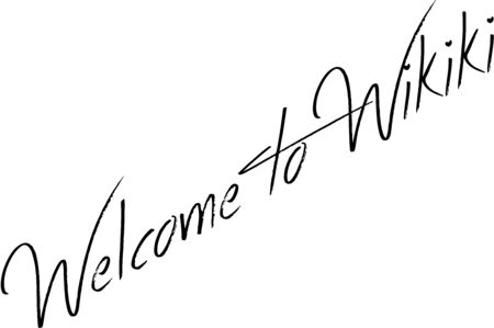 Welcome to Wikiki text sign illustration on white background