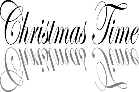 Christmas time text illustration on white background
