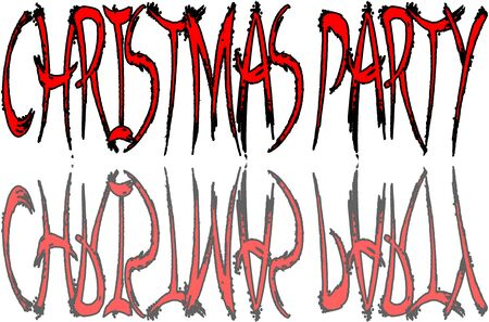 Christmas Party text sign illustration on white Background