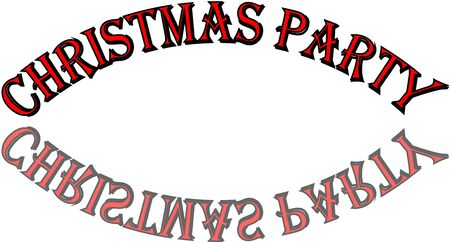 Christmas Party text sign illustration on white Background Banque d'images - 134693646