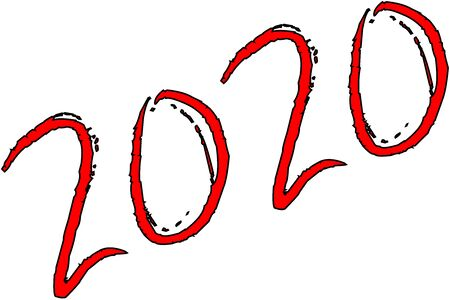 Happy  new year 2020 text sign illustration on white background