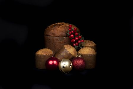 Christmas food and ornament composition still life, holiday season