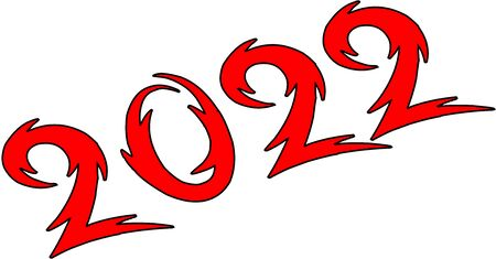 Happy new year 2022 text sign illustration on white background