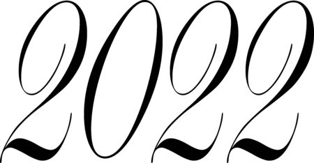 Happy new year 2022 text sign illustration on white background Stock Vector - 144031049