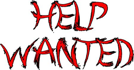 Help wanted text sign illustration on white background