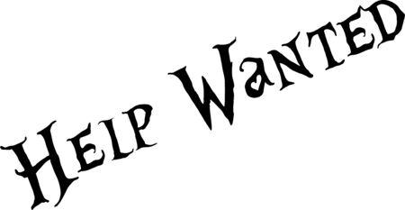 Ayuda quería ilustración de signo de texto sobre fondo blanco. Ilustración de vector