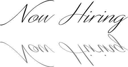 Now Hiring text sign illustration on white Background