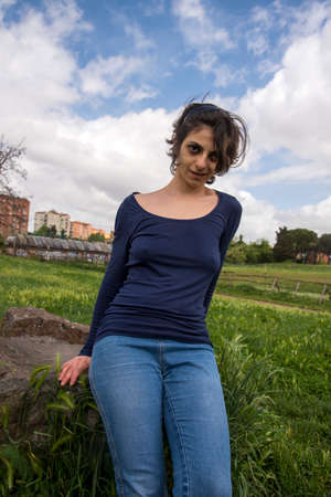 Young girl relaxing at the park in Rome Stok Fotoğraf