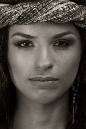 Close up portrait of young woman. Black and white.