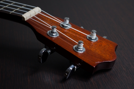 Haedstock of ukulele hawaiian guitar over dark background photo