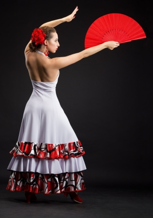 Flamenco dancer in black and red dress photo