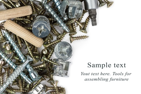 fixate: A heap of tools for assembling furniture over white background Stock Photo