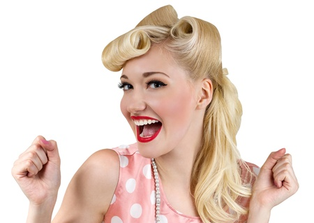 Vintage style portrait of smiling blonde girl photo