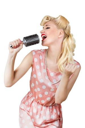 Pin-up retro girl singer isolated over white