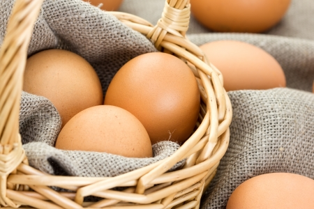 Close-up of brown eggs in a basket photo