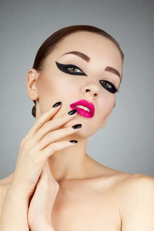 Beauty Woman Portrait. Professional Makeup for Brunette photo